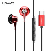 USAMS Luxury In-ear Earphone Metal Hifi Stereo headset Wired earphone type c earphones for Samsung S8 S9 Huawei LG G9(China)
