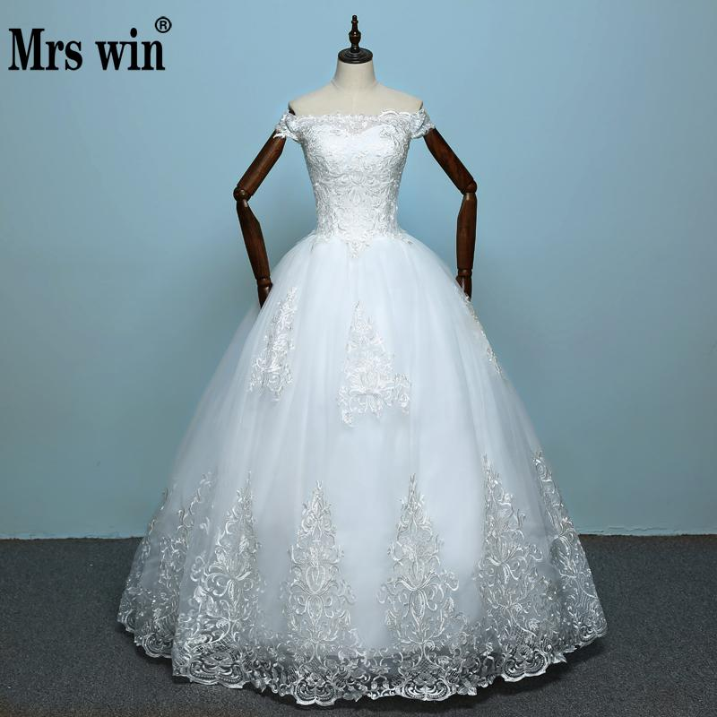 Wedding Dresses 2018 The Bride Elelgant Short Sleeve Sweet Boat Neck Classic Lace Embroidery Princess Illusion Ball Gown