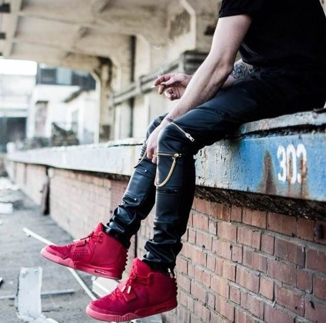 1e217ef1ed06c Men PU Faux Leather Dance Sweatpants Slim Fit Hip Hop Hiphop Pants Zipper  Harem Jogger Kanye West With Chain Full Length on Aliexpress.com