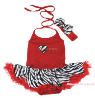 Saint valentin Zebra coeur rouge amour Halter body jupe fille bébé robe nb - MAJSA0372