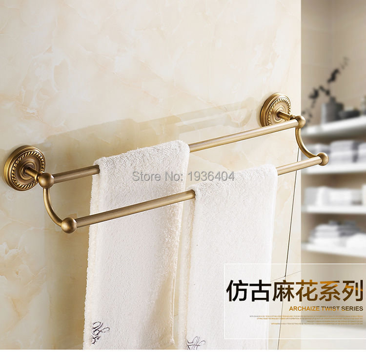 Hot Selling Romantic Towel Bar Antique Brass Bathroom Accessories Towel Racks Wall Mounted Towel Shelf TR1007 wall mounted towel racks antique brass and black bathroom accessories solid brass towel shelf classic
