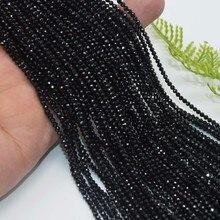 Натуральный яркий качественный Натуральный Черный шпинель граненые Свободные Круглые Бусины 2 мм, 3 мм, 4 мм