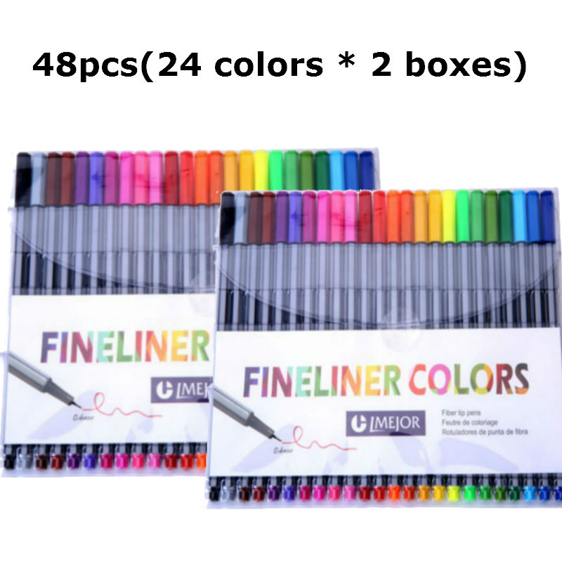 0.4 Mm 48Pcs (24 Colors*2Boxes) Fineliner Pens Marco Super Fine Draw (not Stabilo Point 88) Marker Pen Water Based Assorted Ink 0 4 mm 24 colors fineliner pens marco super fine draw not stabilo point 88 marker pen water based assorted ink no tox material