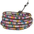 New arrival Charms fashion beads jewelry bracelet Natural mix agate weaving  true leather men bracelets for men JBN-8862