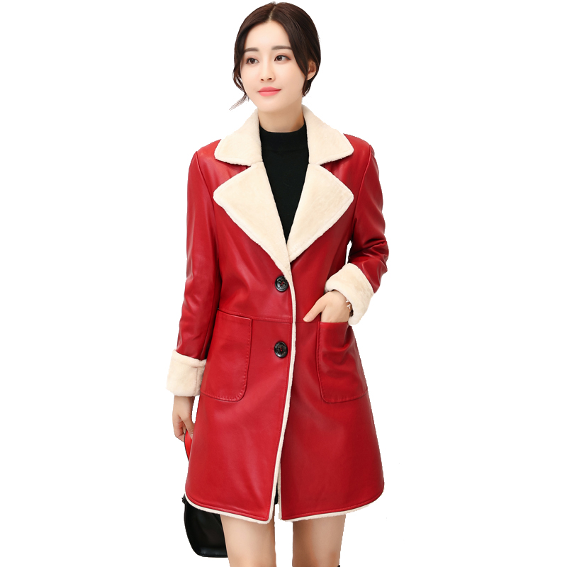 Ckp En Arrivée Manteau Mouton Peau Lady 010 red Nouvelle Zipper Faux Office Down grey Manches Collar Complet Longues De Turn Black aqwPZdw7