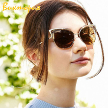 2019 Fashion new womens sunglasses metal Large frame Cat eye sunglass Colorful Reflective Female glasse