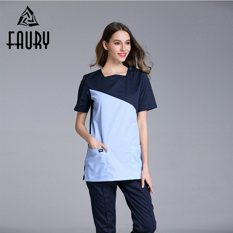 Wholesale Short Sleeve Doctors Uniforms Spliced Color Surgical Medical Overalls Nurses Scrub Sets Pet Hospital Medicos Work Wear ai lianxin new women doctors and nurses surgical caps hat cotton cap and short hair with sweatbands alx 114