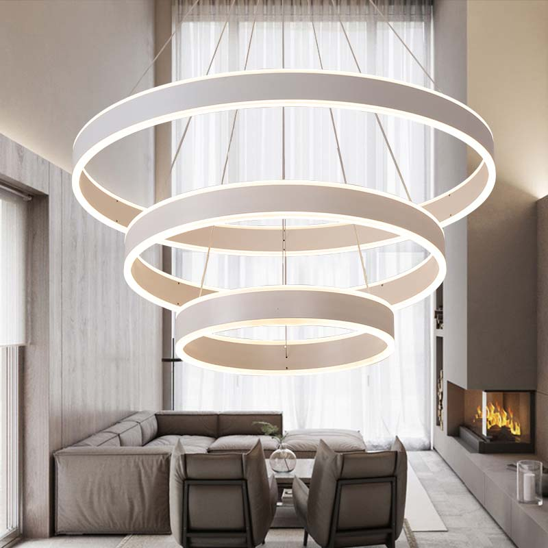 Modern Led Gold Pendant Light Fixtures With Remote Control Kitchen Living Room Loft Hanging Ring Lamp Decor Home Lighting 220V in Pendant Lights from Lights Lighting