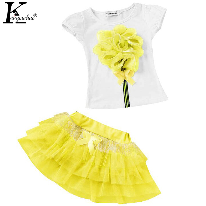 Clothes For Girls Lace Vest T-shirt Tutu Skirt Tracksuit For Girls Sport Suits Children Clothing Sets Kids Costume Baby Clothes