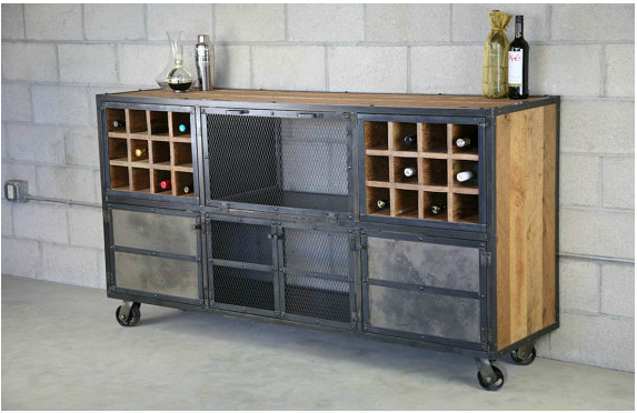 Loft Do The Old Wrought Iron Wine Racks Storage Cabinets Wood Pulley Cafe Bar Sideboard