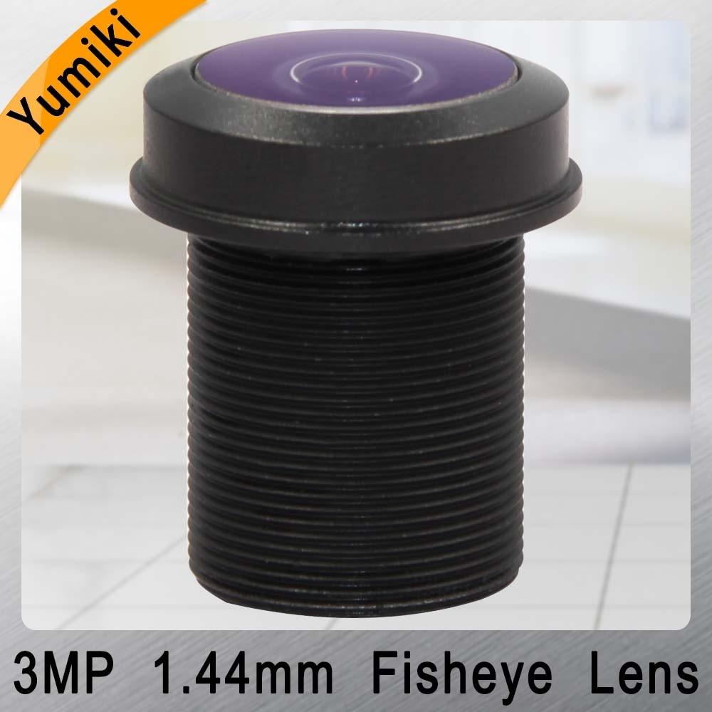 Yumiki 1.44mm Lens 3.0 MegaPixel Wide-angle 180 Degree MTV M12 X 0.5 Mount Infrared Night Vision Fisheye Lens For CCTV Camera