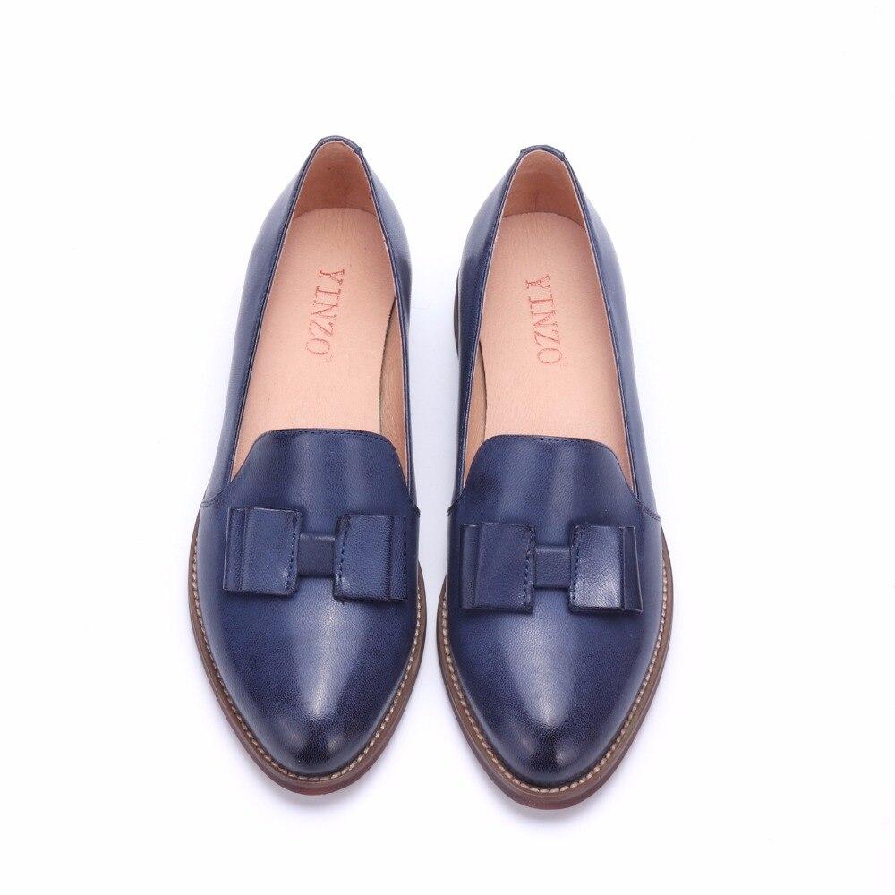 Zapatos de mujer de cuero genuino YINZO marca Vintage zapatos planos de punta redonda hechos a mano oxford zapatos para mujer slip on mocasines-in Zapatos planos de mujer from zapatos    3