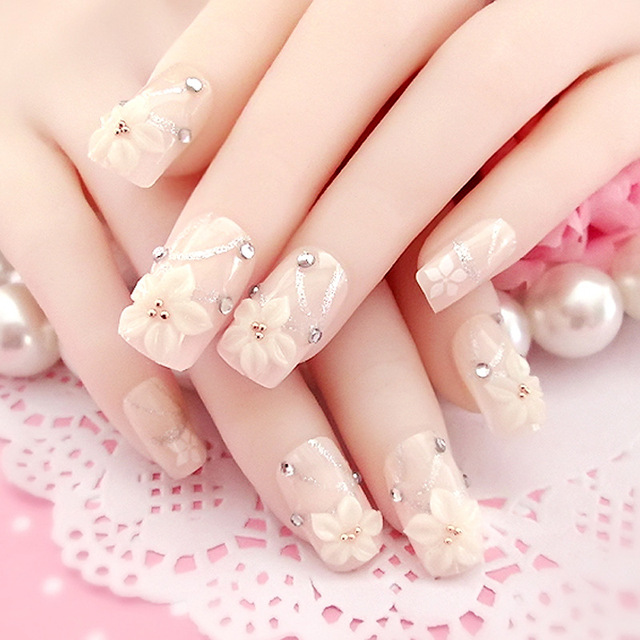 Fashion Women Long Design False Nails Style Natural carved flowers ...