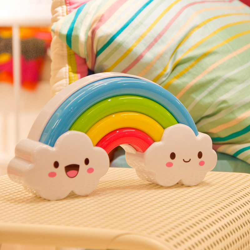 Children Toy Batteries Powered LED Rainbow Colorful Night Light Voice&Light Control Decorative Lights Baby Bedside Lamp