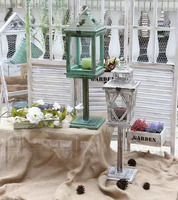 European style American old solid wood wind lanterns Retro wooden windproof candle holders Mediterranean European ornaments