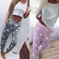 2016 Primavera Rosa y Gris de la Nueva Llegada Mujeres Pantalones Estrella Patrón Espesar Pantalones Casuales de La Calle o En El Hogar Desgaste Pantalones Calcas
