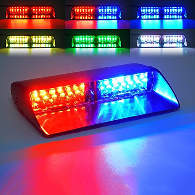 Car 16 LED Red/Blue Amber/White Signal Viper S2 Police Strobe Flash Light Dash Emergency Flashing windshield Warning Light 12vv