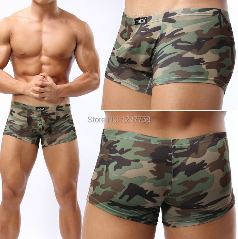 Men's Camouflage  Underwear Bikinis Boxers  Bulge Pouch Boxers