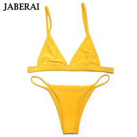 Jaberai צהוב בגד ים 2017 בגדי ים Biquini סקסי בגדי ים לנשים ביקיני סט תחתון Thong ביקיני חליפה למעלה רחצה מתכוונן