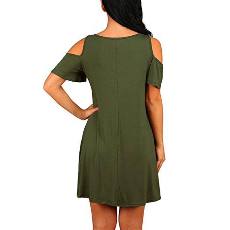 b80bd88d81fe New Summer Women's Cold Shoulder Tee Shirt Swing Dress With Pockets Casual  Mini Flare Skater Midi Dress Plus Size 2XL