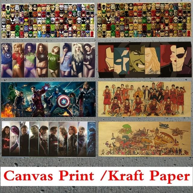 Avengers Super Hero Vintage Kraftpapier Leinwand Poster Geburtstag ...