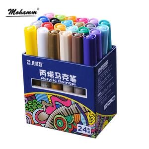 Image 5 - 12 24 Colors/Set STA Acrylic Permanent Paint Marker pen for Ceramic Rock Glass Porcelain Mug Wood Fabric Canvas Painting