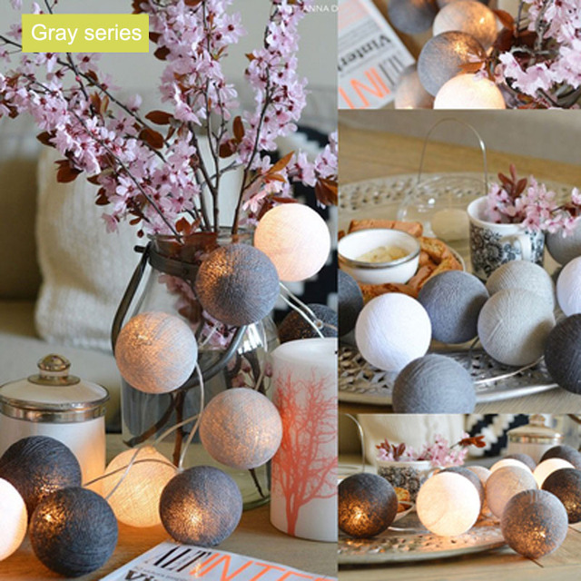 Gray Cotton Balls Christmas Lights String Battery Operated Flasher LED Garland Holiday Party Wedding Kids Room Decoration Lights