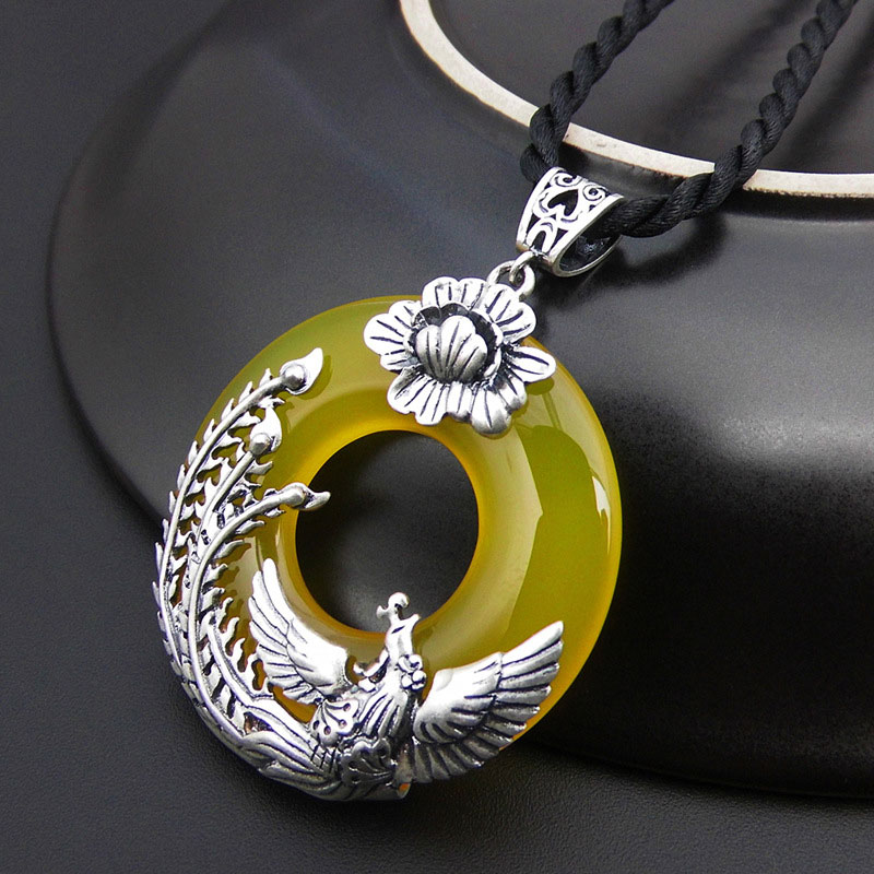FNJ 925 Silver Peacock Pendant Natural Yellow Stone 100% Pure S925 Solid Thai Silver Pendants for Women Jewelry MakingFNJ 925 Silver Peacock Pendant Natural Yellow Stone 100% Pure S925 Solid Thai Silver Pendants for Women Jewelry Making