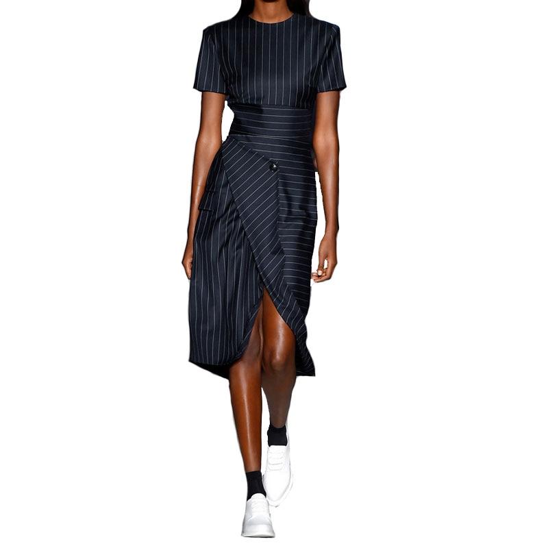 Summer Stripped OL Slim Office lady asymetrical Slit Dresses 2017 New Women Runway Designer Elegant Chic Dress Female Vestidos