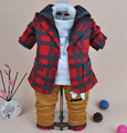 new 2015 spring plaid baby boy clothing set 3pcs cartoon boys clothing kids clothes sets baby boy clothes kids clothes suit set
