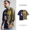 Alta Qualidade Hip Hop metallica 2017 Camisa Da Marca T Verão Novo Homem Maré Rua Costura Assimétrica T-shirt Dos Homens