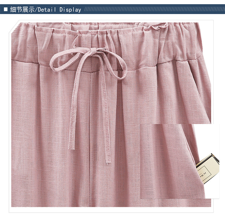 18 Wide Leg Pants Harem Pant Female Trousers Casual Spring Summer Loose Cotton Linen Overalls Pants Plus Size Candy Color 15