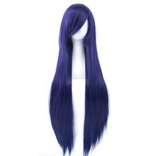 Soowee 32inch Long Synthetic Hair Blue Orange Cosplay Wigs Heat Resistant Fiber Party Hair Straight Wig Hairpiece