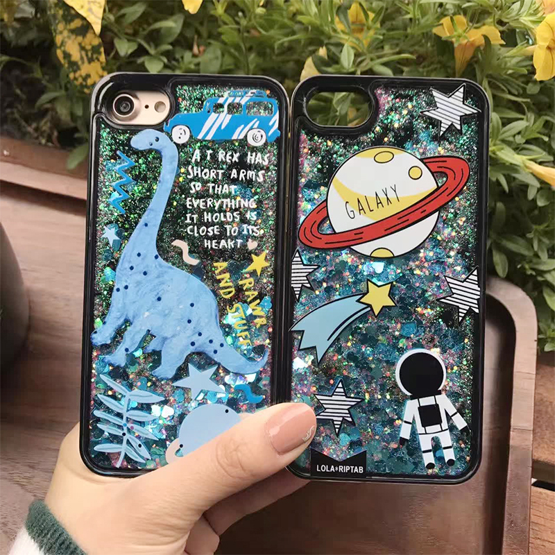 Fitted Cases Cellphones & Telecommunications Dinosaur Stars Planets Soft Edge Liquid Back Cover Phone Case For Iphone 7 6 6s Plus Dynamic Colorful Quicksand Glitter Flamingo