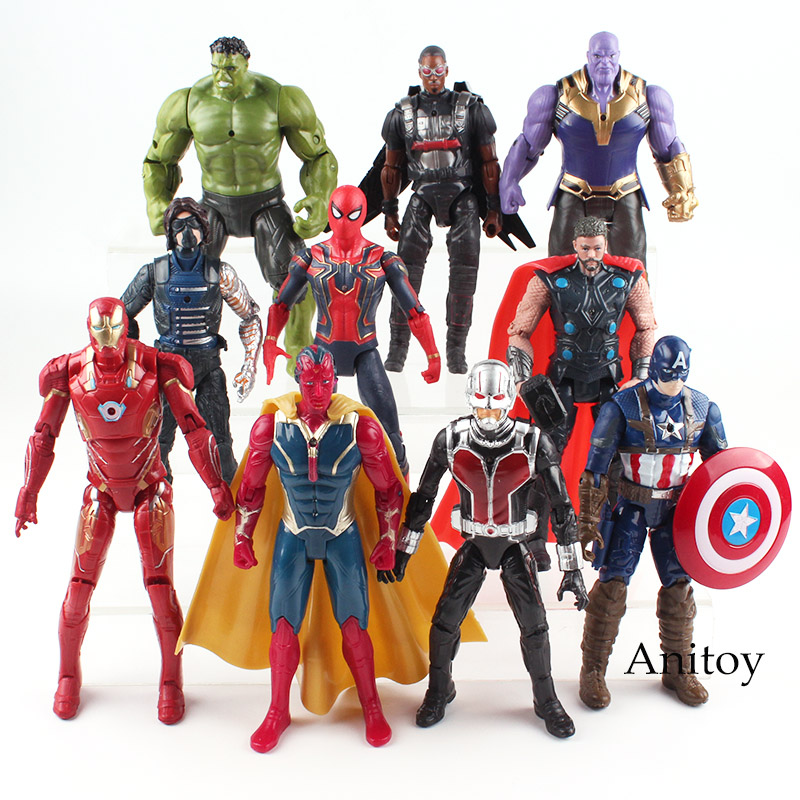 Marvel Avengers Figure Hulk Iron Man Captain America Spiderman Thanos Vision Falcon Thor Winter Soldier Action Figure Toy 17cm marvel avengers chess captain america pvc action figure collectible model toy 15cm hrfg462