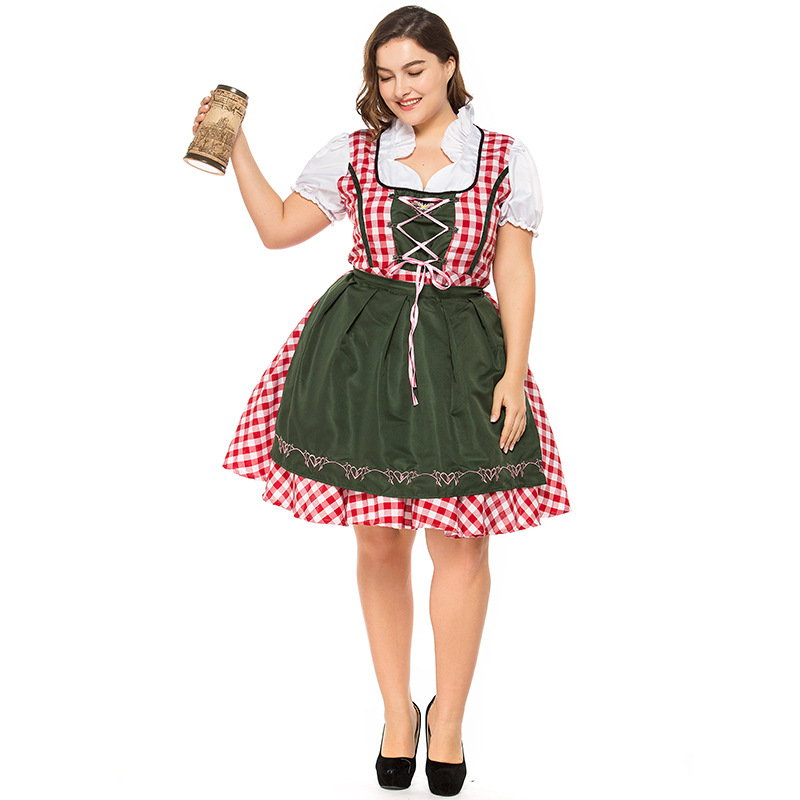 Women's Oktoberfest Sweetie Inga Long Dress Costume for Bavarian Tradition Beer Waitress Maid Costumes Plus Size S-3XL