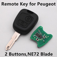 Remote Key 2 Buttons 433Mhz For PEUGEOT 206 207 Car Keyless Entry Fob ID46 Chip NE72