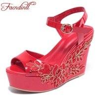 FACNDINLL beach summer sandals sexy cuñas del dedo del pie abierto gladiador sandalias de las mujeres plataforma de los tacones altos vestido de novia mujeres zapatos casuales