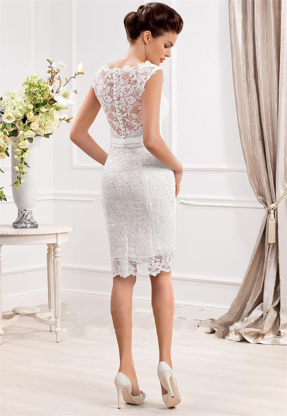 Aliexpress.com Comprar Elegante por encargo de la envoltura transparente  Scoop cuello de encaje sin mangas vestidos novia corto 2015 vestidos de  novia