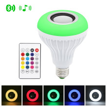 E27 Smart RGB Lamp Wireless Bluetooth Speaker Bulb Music Player Dimmable LED RGBW Music Light 24 Keys Remote Control(China)