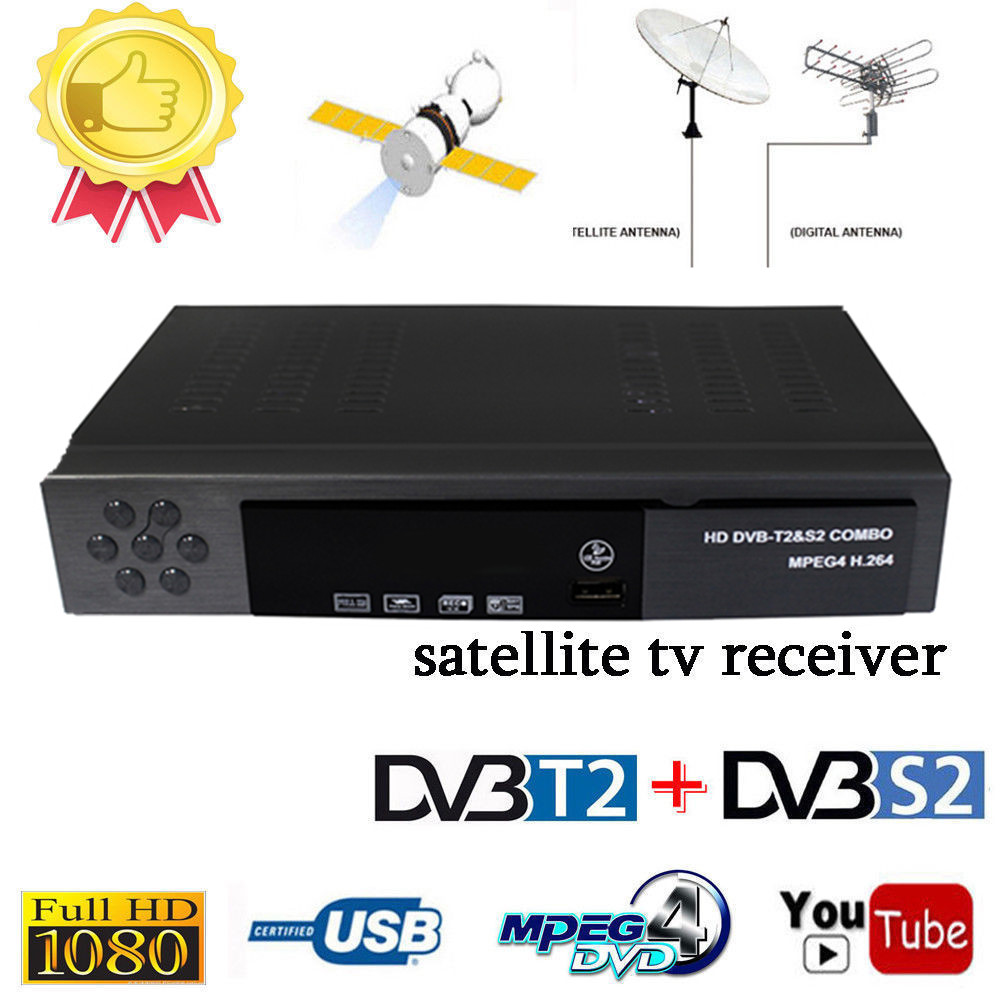 Vmde Digital Terrestrial Satellite HD TV DVB T2 S2 Combo Decoder Receiver Support IPTV Youtube H.264 MPEG 2/4 Russia Europe