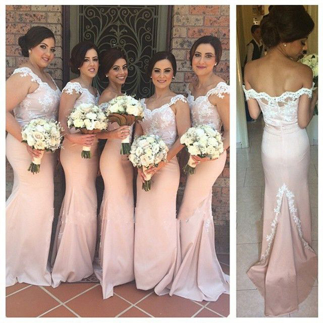 2017 Blush Pink Off Shoulder Mermaid Long Bridesmaid Dresses Lace Women Wedding Maxi Gowns Chic
