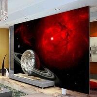 Fantasy Red Galaxy Wallpaper Custom photo wallpaper 3D Wall Mural Space Planet Bedroom Sitting room Home Art Boy Kid Room decor