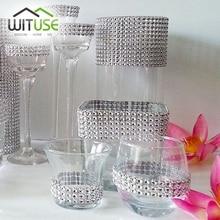 Bling diamante malla cinta de diamantes  plata rollo malla cristal Bodas decoración