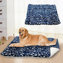 1PC Soft Dog Blanket Cute Pet Cat Sleep Warm Footprint Bone Print Puppy Fleece Beds Mat S/M/L/XL