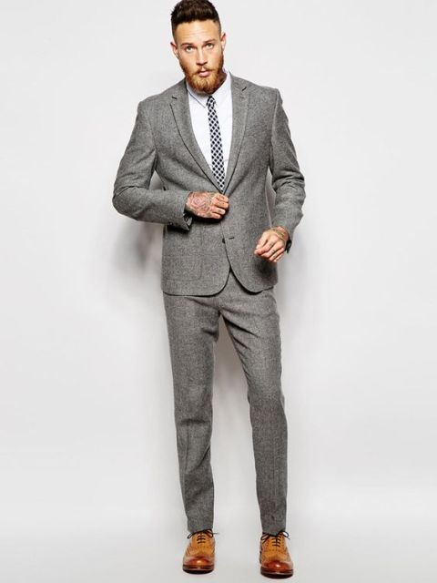 Latest Coat Pant Designs Grey Tweed Wedding Suits For Men Stylish Suit Casual Terno Slim