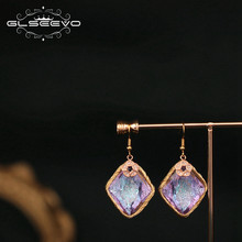 GLSEEVO Original Design Rhombic Colorful Zircon Drop Earrings For Women Mom Birthday Gift Jewellery Pendientes Mujer GE0757(China)