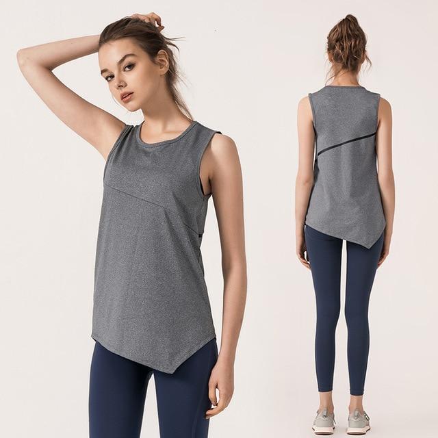 pas mal 62834 f86aa Femmes Yoga Tank hauts d'entraînement tenue de Sport pour les femmes Gym T  shirt lâche Blouse top Fitness course chemise femme Jerse