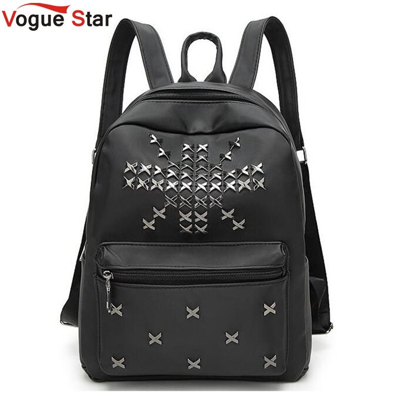 Vogue Star Women Backpack High Quality rivet black  Mochila Escolar School Bags For Teenagers Girls Top-handle Backpacks LB105