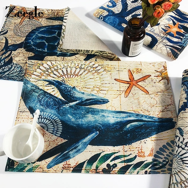 Zeegle Coasters Kitchen Dining Bar Table Mat Pad Marine Life Pattern Placemat Coffee Cup
